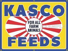 KASCO FEEDS FARM FEED STORE OLD SCHOOL SIGN REMAKE BANNER BARN ART MURAL 3' X4'