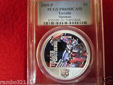 2009 Tuvalu $1 Transformers OPTIMUS PRIME 1Oz 999 Silver Coin ngc PCGS PR69 PF69