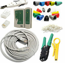 50m RJ45 Cat5e Ethernet Network Cable Tester Cutter Crimper Punch Down Tool Kit