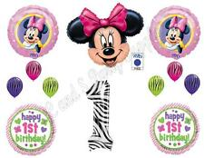 MINNIE MOUSE & ZEBRA 1ST First Birthday Balloons Decoration Supplies Party 12 pc