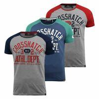 Mens Crosshatch T-Shirt Contrast Short Sleeve Tee Top Mathers