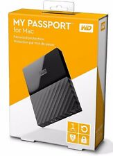 New Western Digital My Passport for MAC 1TB Portable External Hard Drive-BLACK