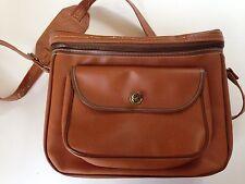 Vintage Camera Shoulder Bag Brown Faux Leather Plaid Inside