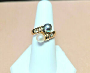 Gold Black and White Pearl ring with diamonds SOLID GOLD !!!! sz 7