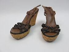 Prada Schuhe Plateau Sandale Wedges Keilabsatz Gr.38,5 Fersenriemchen Leder