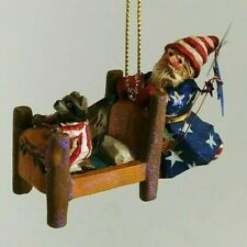 Pam Schifferl Ornament Santa and Raccoon in Pj's Midwest of Cannon Falls