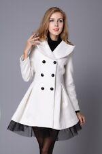 Women Ladies Jacket Coat Tops Chunky Adjustable Waist Slim White Trench coat