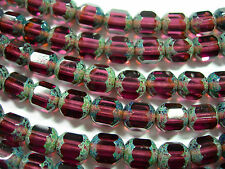 25  8mm Czech Glass Faceted Amethyst Picasso Tube beads