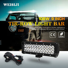 WEISIJI 1Pcs 9in Tri-Row 108W LED Light Bar with High Intensity Chips Offroad