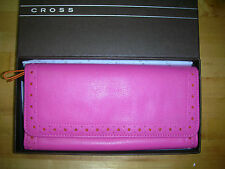 Cross Autocross Women's Leather Slim Envelope Wallet Pink/ Orange AC204-7A $90