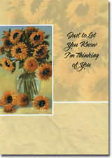 Glittered Sunflowers in Vase Thinking of You Card by Freedom Greetings