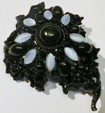 broche bijou vintage navette bleu cabochon noir cristal noir * 5273
