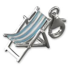 925 Sterling Silver Deck Chair Beach Holiday Clip-on Bracelet Charm Gift Boxed