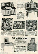 1942 ADVERT Toy Chiquita Tea Set Doll House Kitchen Bedroom Furniture Holgate