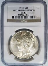 1922 Silver Peace Dollar NGC MS 63 McClaren Collection Hoard Pedigree Coin