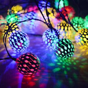 Moroccan Solar Garden String Lights Hanging Lantern Fairy Light Outdoor Romantic