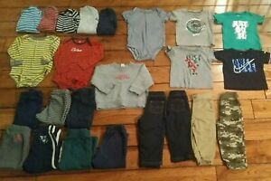 Lot Of 24 Baby Boy Clothes Sz 18 months Carters NIKE Fall Winter sweatpants tees