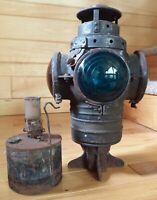 Antique Vintage Armspear Railroad Switch Lamp Oil Lantern 4 Lense Amber Blue