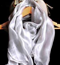Satin Chiffonschal Stola Schal Hochzeit Abendkleid GRAU Silber glanz glänzend