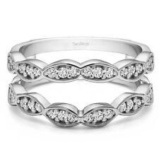Sterling Silver Vintage Wedding Ring Guard Enhancer (0.3tw)