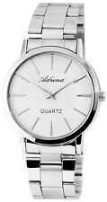 Damenuhr Weiß Silber Analog Quarz Metall Klassisch Armbanduhr D-4672200002350