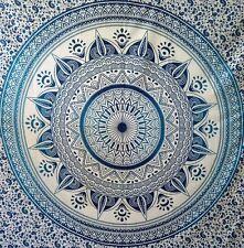 Blue Flower Ombre Mandala Bedding Queen Size Bedspread Wall Hanging Cotton Art