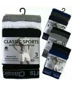 Men's Boxers Shorts Button Fly Underwear High Impact Rich Cotton S M L XL 3 PACK