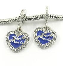 2pcs Best Friend European Charm Crystal Spacer Beads Fit Necklace Bracelet NEW