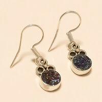925 Sterling Silver Russian Titanium Druzy Earrings Christmas Discount Jewelry