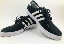 Mens Adidas Originals Seeley Skate Shoe Sneaker Black White Lace Up Size 10 VG+