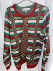 Jolly Sweaters Christmas Mens Medium Striped Neck Tie Fake Suspenders Plaid Ugly
