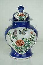 BEAUTIFUL CHINESE 19TH C KANGXI STYLE POWDER BLUE FAMILLE VERTE BIRDS JAR