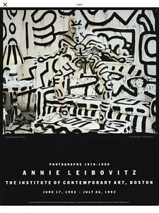 Original, Vintage Pop Poster with Keith Haring Naked Photo by Annie Leibovitz