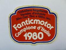 VECCHIO ADESIVO MOTO / Old Sticker FANTIC MOTOR CAMPIONE ITALIA 1980 (cm 10 x 8)
