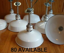 "(1) Westinghouse 14"" Porcelain White Barn Industrial Light Gas Station Vtg A's"