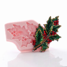 Holly Leaf Silicone Mold Resin Polymer Clay Metal Clay Fondant Mint Candy (744)