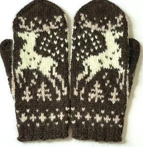 M L Hand Knitted Hand Knit Fair Isle Men's Gloves Mittens Cashmere Alpaca Merino