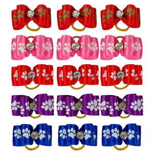 50/100pcs Cute Paw Dog Cat Hair Bows Rubber Band Grooming Accessories Topknot