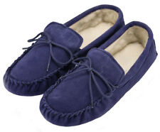 Mens Navy Moccasin Slippers with Soft Suede Sole & Wool Lining by Lambland