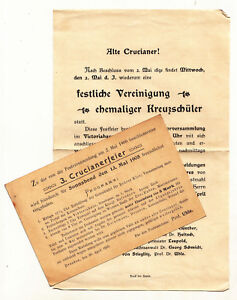 Aufruf & Programm Ak Crucianerfeier 1891 & 1905 Studentika Dresden Kreuzschule !