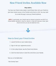 Fortnite iOS Game Invite, friend Key