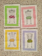 New listing Edward Boutross Hand Painted Whimsical ChaIr Rectangular cotton hand towel 13x18