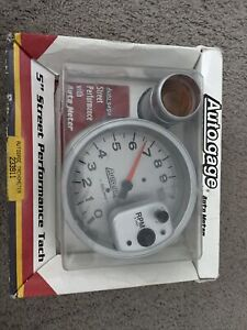 "Auto Meter 5"" Pedestal Tachometer 0-10,000RPM Shift Light Silver Auto Gauge"