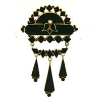 Antique Victorian 14K Rose Gold Black Onyx Mourning Dangle Chandelier Brooch Pin
