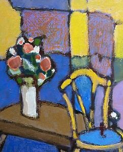 RENE LEROY - FRENCH CONTEMPORARY MODERNIST OIL PAINTING - STILL LIFE INTERIOR