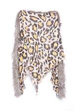 Tangerine Black Beige Black Leopard Print Faux Raccoon Fur Triangular Scarf S116