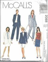 McCalls Sewing Pattern # 2088 Misses Jacket Top Pants and Skirt Size 12-14-16