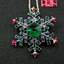 Betsey Johnson Charm Green Crystal Snowflake Rhinestone Pendant Chain Necklace