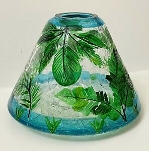 Yankee Candle TROPICAL PLANTS Large Jar CANDLE SHADE Palm Fronds CRACKLE GLASS