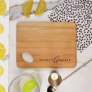 Personalised Wooden Gin Bar Chopping Board Birthday New Home Gift - CUSTOM NAME